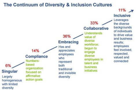 Chart showing the continuum of diversity and inclusion cultures