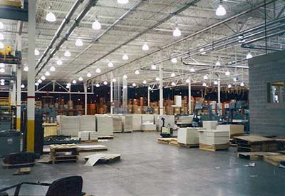 Warehouse with smart lighting